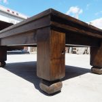 Coffee table legs made from salvaged barn beams