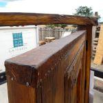 Detail of entry gate tin edging