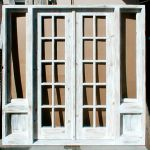 Custom French doors with sidelights and shutters