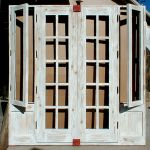 Custom French doors with operable shutters