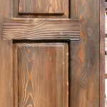 Detail of custom wooden driveway gate