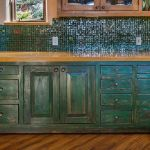 Green country kitchen cabinets
