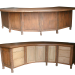 Front and back detail of curved island cabinets