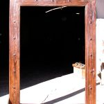 Original honey finish on antique wood mirror