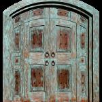 Front of custom green zaguan gate