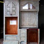 Set of three French country kitchen cabinets