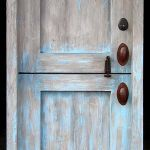 Back of blue Dutch door
