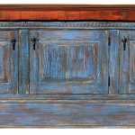Front of blue buffet cabinet