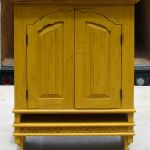 Custom yellow kitchen cabinet