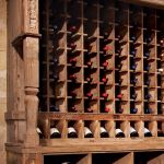 Detail of wine cellar racking