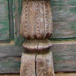 Detail of bottom of antique column used to make newell post