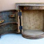 Detail of curved cabinet door on rustic bath vanity