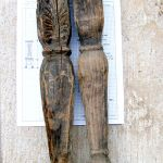 Antique legs from dowry chests used to make cupboard