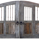 Gate with pedestrian entry and custom grillwork
