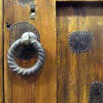 Hardware detail on custom bath door