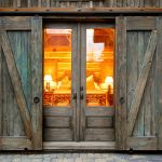 Barn sliding doors over French doors