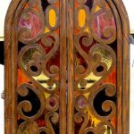 Antique windows used in entertainment cabinet