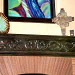 Hand carved fireplace mantel installed