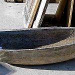 Antique canoe used to make copper-lined sink