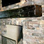 Medium heavy timber mantel installed