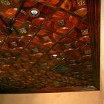Wood ceiling tiles installed