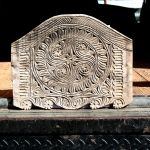 Carved antique panel used for crest of nicho cabinet