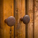 Detail of rustic linen cabinet