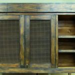 Rustic cabinet with copper mesh