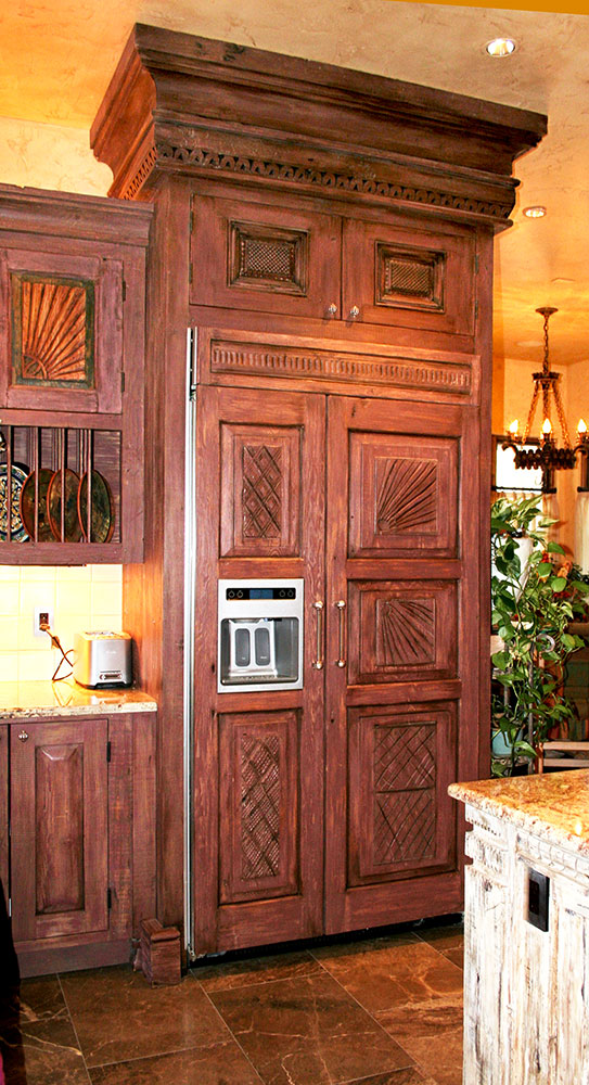 Carved Wood Refrigerator Panels Cabinets