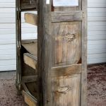 Antique cabinet used to make small linen cabinet