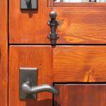Hardware detail on custom Dutch door