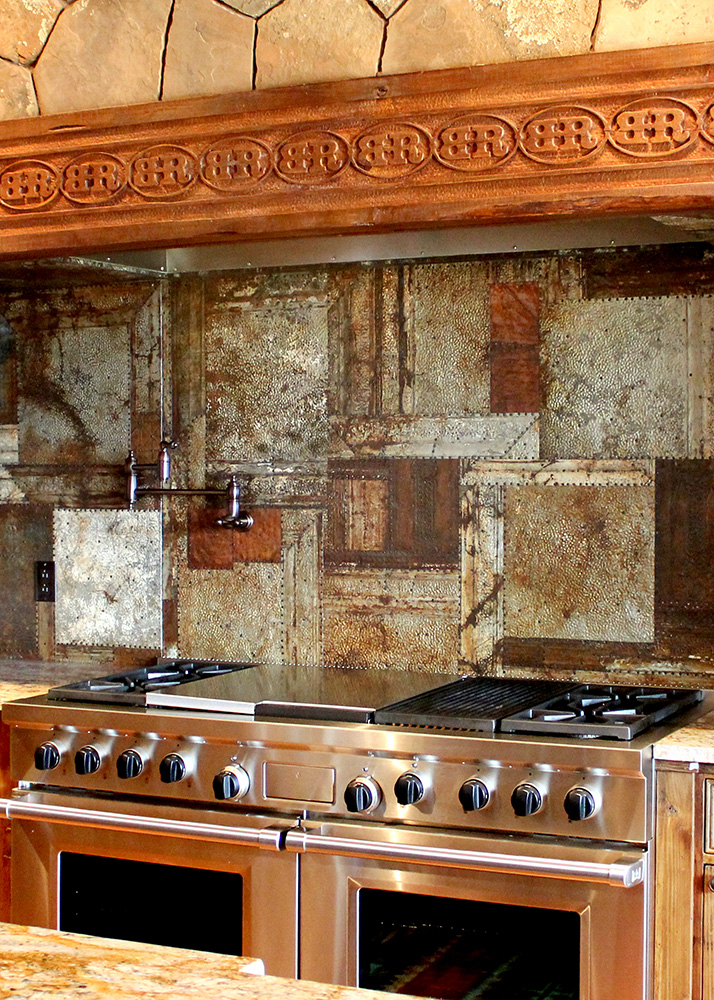 Excellent Beam And Antique Tin Backsplash La Puerta Originals Home Interior And Landscaping Ferensignezvosmurscom