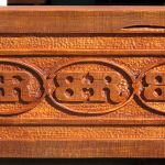 Detail of ranch brand carved beam