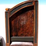 Back of cowhide upholstered chairs