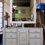 Bath vanity cabinets with carving