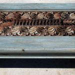 Antique grillwork detail on coffee table