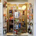 Auto-lit pantry cabinet shelving detail
