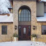 Installation photo of front entry with sidelights