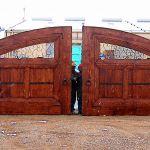 Double wooden car dealership gates