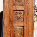 Back of door with carved panels