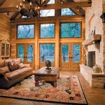 Livingroom with giant rustic fireplace mantel