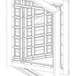 Auto cad drawing of Zaguan door in action.