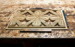 Custom carved cabinet door