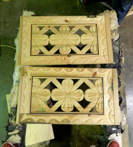 Hand carved door panels