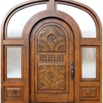Custom carved door with sidelights