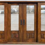 Front of double sliding doors with sidelights