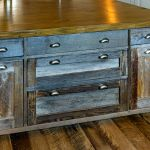 Salvaged woods on rustic kitchen island