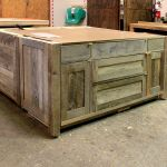 Rustic kitchen island in wood shop