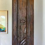 Carving detail on living room bookshelf