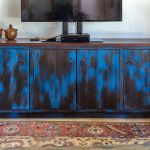 Living room cabinet with blue finish